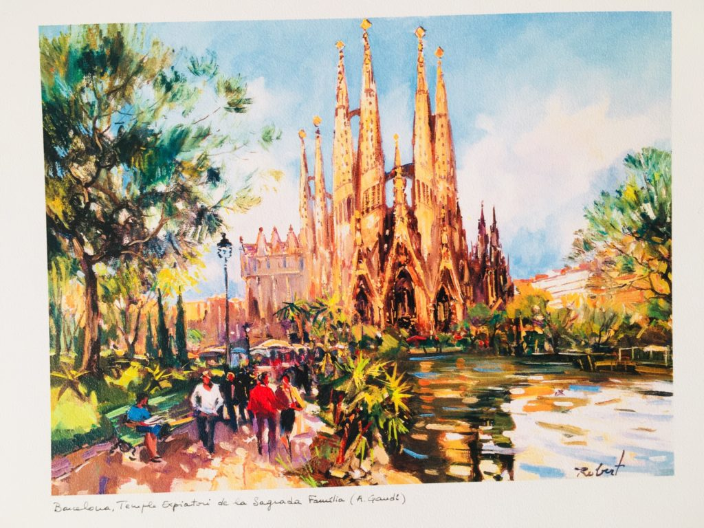 バルセロナのサグラダファミリアのポストカード