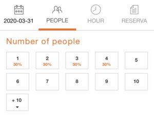 バルセロナレストラン予約方法希望日人数選択